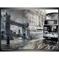 Glas Schilderij Engeland, London | Grijs, Crème