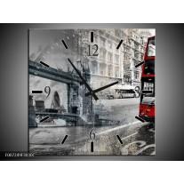 Wandklok Schilderij England, London | Grijs, Rood