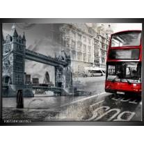 Glas Schilderij Engeland, London | Grijs, Rood