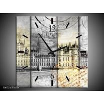 Wandklok Schilderij England, London | Grijs, Crème, Rood