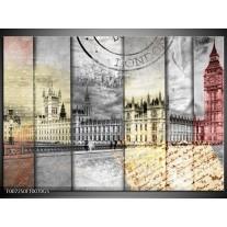 Glas Schilderij Engeland, London | Grijs, Crème, Rood