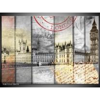 Canvas Schilderij Engeland, London | Grijs, Crème, Rood