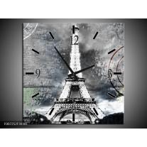 Wandklok Schilderij Parijs, Eiffeltoren | Grijs, Crème, Groen