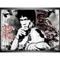 Canvas Schilderij Bruce Lee, Sport | Zwart, Wit, Rood