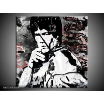 Wandklok Schilderij Bruce Lee, Sport   Zwart, Wit, Rood