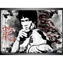 Glas Schilderij Bruce Lee, Sport | Zwart, Wit, Rood