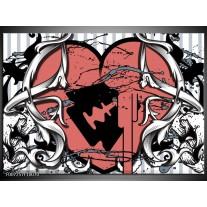 Canvas Schilderij Popart, Hart | Rood, Grijs, Zwart