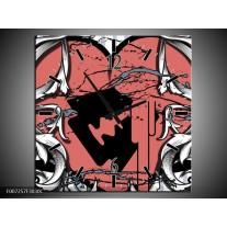 Wandklok Schilderij Popart, Hart | Rood, Grijs, Zwart