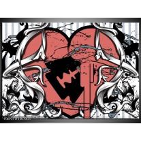 Glas Schilderij Popart, Hart | Rood, Grijs, Zwart