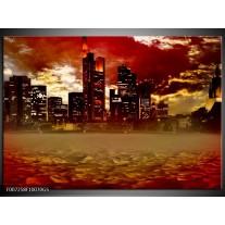 Glas Schilderij New York, Steden | Bruin, Rood, Oranje