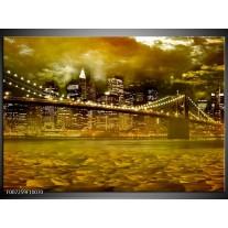 Canvas Schilderij New York, Brug | Oranje, Bruin, Groen