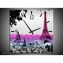 Wandklok Schilderij Parijs, Eiffeltoren   Paars, Roze, Grijs