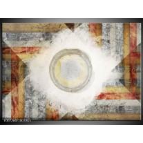 Glas Schilderij Abstract | Grijs, Crème , Bruin