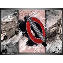 Glas Schilderij Engeland, London   Grijs, Crème , Rood