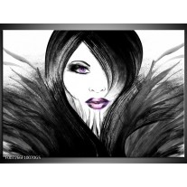 Glas Schilderij Vrouw, Gezicht | Zwart, Wit, Paars