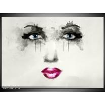 Canvas Schilderij Vrouw, Gezicht | Zwart, Roze, Crème