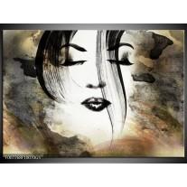 Glas Schilderij Vrouw, Gezicht | Zwart, Wit, Bruin