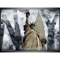 Glas Schilderij Vrijheidsbeeld, New York   Grijs, Crème