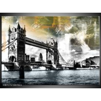 Glas Schilderij Engeland, London | Zwart, Grijs, Groen