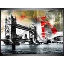 Canvas Schilderij Engeland, London | Zwart, Wit, Rood