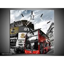 Wandklok Schilderij Steden, Abstract | Zwart, Grijs, Rood
