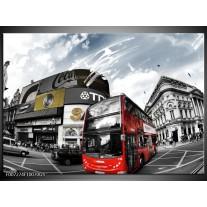 Glas Schilderij Steden, Abstract | Zwart, Grijs, Rood