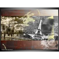 Glas Schilderij Frankrijk, Parijs | Grijs, Geel, Bruin