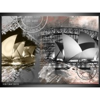 Canvas Schilderij Sydney, Modern | Grijs, Crème, Rood