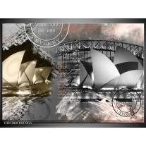 Glas Schilderij Sydney, Modern | Grijs, Crème , Rood