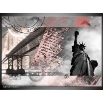 Canvas Schilderij Vrijheidsbeeld, New York | Grijs, Rood, Zwart, Wit