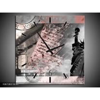 Wandklok Schilderij Vrijheidsbeeld, New York | Grijs, Rood, Zwart, Wit