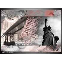 Glas Schilderij Vrijheidsbeeld, New York | Grijs, Rood, Zwart, Wit
