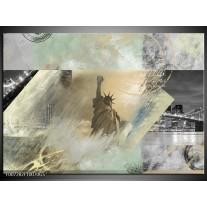 Glas Schilderij Vrijheidsbeeld, New York | Grijs, Crème , Groen