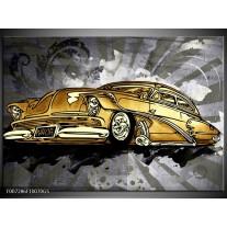 Glas Schilderij Oldtimer, Auto | Grijs, Geel, Goud