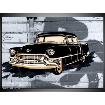 Canvas Schilderij Oldtimer, Auto   Grijs, Zwart, Geel