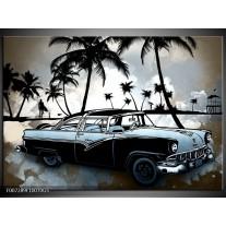 Glas Schilderij Oldtimer, Auto | Zwart, Wit, Blauw