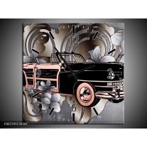 Wandklok Schilderij Oldtimer, Auto | Grijs, Zwart