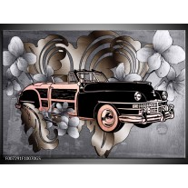Glas Schilderij Oldtimer, Auto | Grijs, Zwart