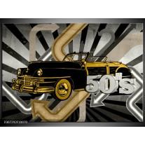 Canvas Schilderij Oldtimer, Auto | Grijs, Geel