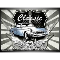Glas Schilderij Oldtimer, Auto | Grijs, Blauw