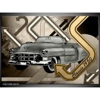 Canvas Schilderij Oldtimer, Auto | Grijs, Goud