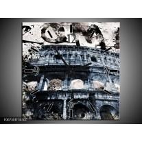 Wandklok Schilderij Italie, Rome | Grijs, Blauw