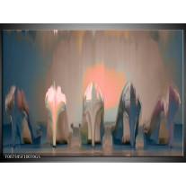 Glas Schilderij Schoenen, Vrouw | Grijs, Bruin