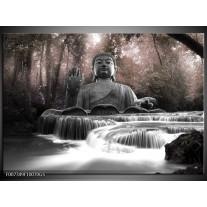 Glas Schilderij Boeddha, Natuur | Grijs
