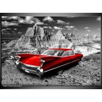 Glas Schilderij Oldtimer, Auto | Grijs, Rood