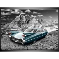 Glas Schilderij Oldtimer, Auto | Grijs, Groen, Blauw