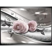 Glas Schilderij Bloemen, Modern | Grijs, Roze