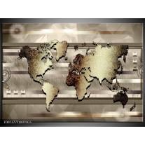 Glas Schilderij Wereldkaart | Bruin, Goud