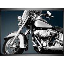 Glas Schilderij Motor | Grijs, Zilver