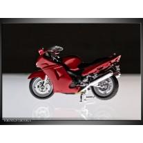 Glas Schilderij Motor | Zwart, Wit, Rood